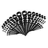 Prettyia 50 Pieces Acrylic Tapers Plugs 14G-00G Silicone Tunnels Ear Gauges Expander Assorted Size Kit