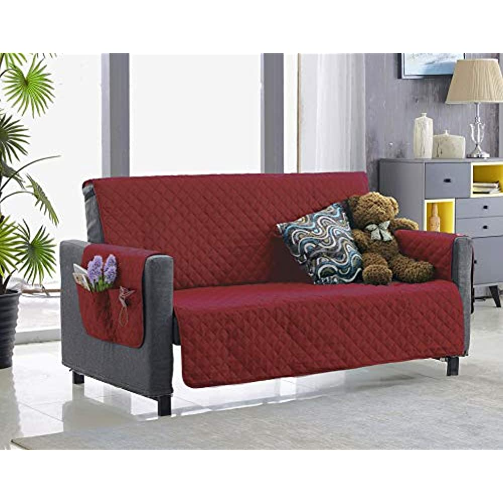 Details about Large Couch Cover With Pockets For Dogs Living Room Sofa  Decor Slipcover Wine \