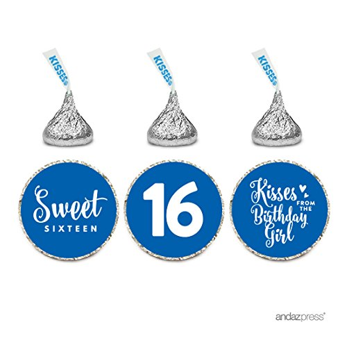 Andaz Press Chocolate Drop Labels Trio, Fits Hershey's Kisses, Sweet 16 Birthday, Royal Blue, (Sweet 16 Party Supplies Blue)