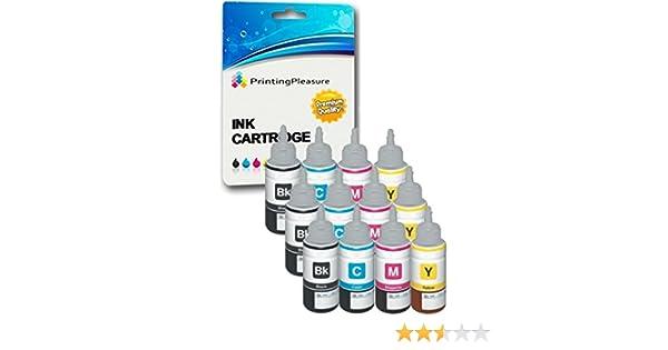 12 Cartuchos de Tinta compatibles para Epson EcoTank ET-2500 ET-2550 ET-2600 ET-4500 ET-4550 ET-14000 L100 L110 L120 L200 L210 L300 L310 L350 L355 ...