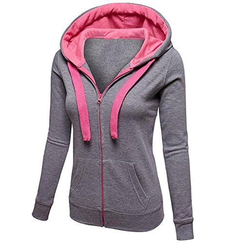 Clearance Jumper Womens Jacket Hooded Sale DEELIN Warm Tops Zip Pullover Solid Long Hoodie Winter Sleeve Daily Gray Autumn Coat Sweatershirt 5BSxxnp