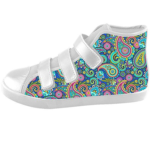 Custom Fashion Colorful Paisley Velcro Sneaker High Top Canvas Kid's Shoes