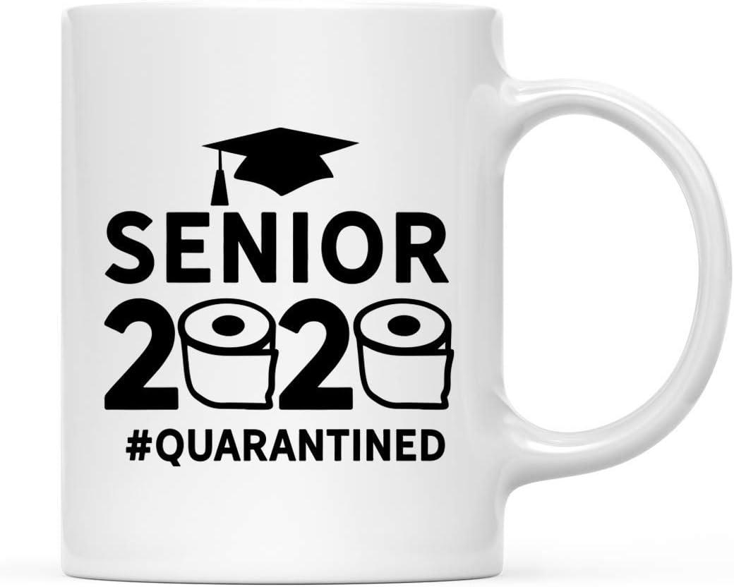 Andaz Press Quarantine 11oz. Ceramic Coffee Tea Mug Gift, Senior 2020 #QUARANTINED, 1-Pack, for Graduate Senior Class of 2020 Social Distancing Pandemic Virus, Graduation Gift Ideas, Includes Gift Box