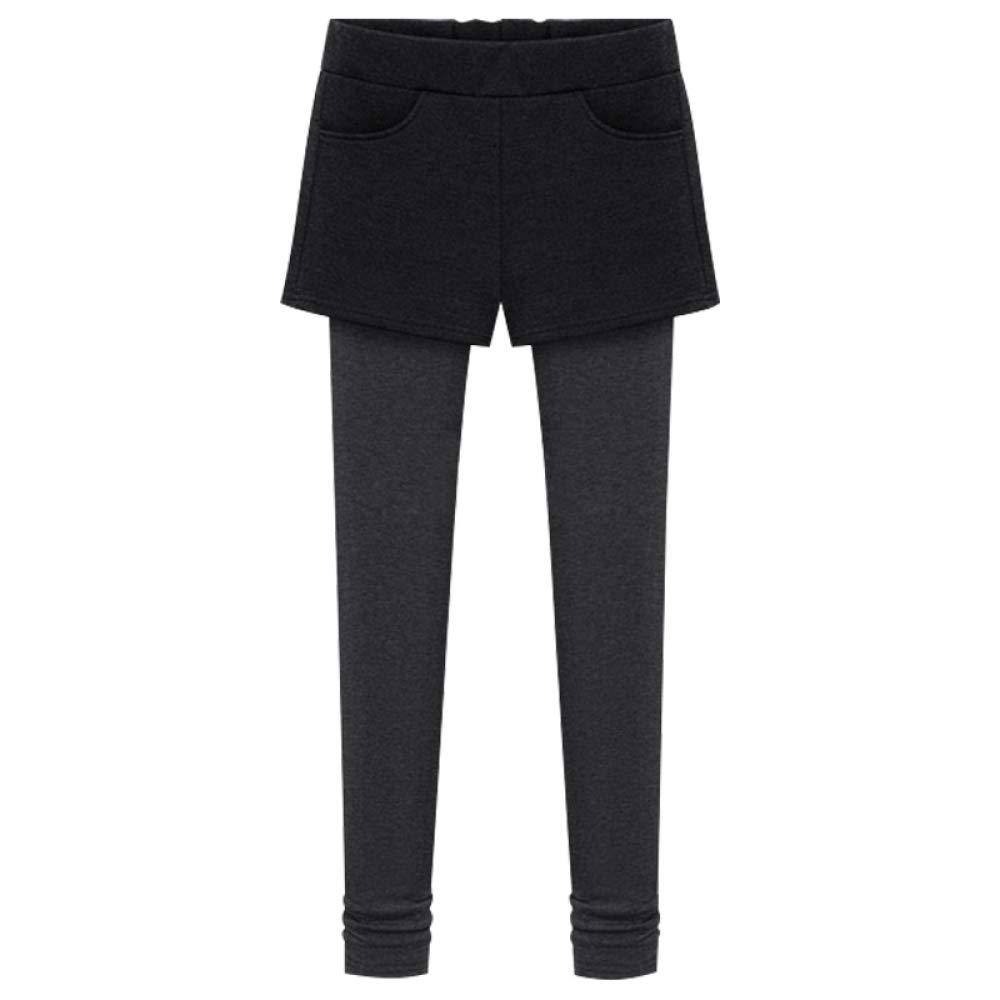 D Winter Plus Velvet Leggings Women Wear Black Feet Pants High Waist Fake TwoPiece Skirt Pants Thick Pants Large Size Pants,D,XL CTO