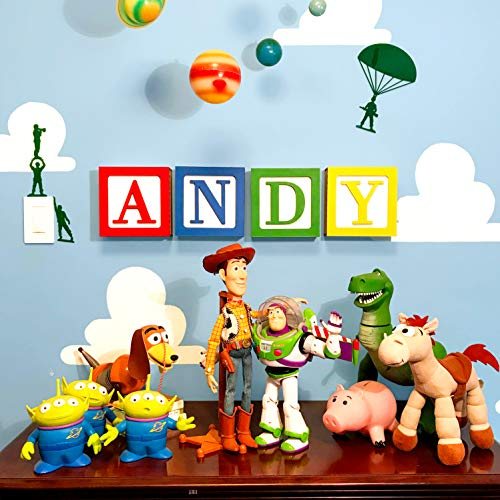 Large Toy 3D Wooden Block Letter Wall Decor DIY kit for Toy Story Room 7 x 7 x 2.5 Includes Wall Hanging kit and Glue to DIY Assemble M