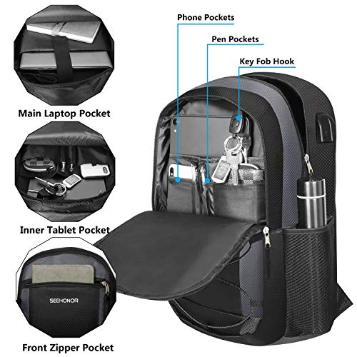 Laptop Backpack, SEEHONOR Travel Laptop Backpack with USB Charging Port, 15.6 Inch Slim Business Computer Backpack for… 3