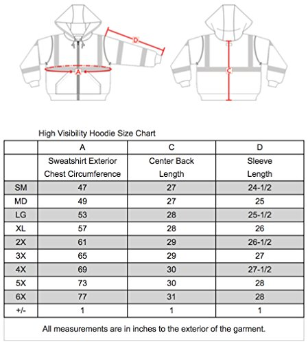 Brite Safety Style 5010 Hi Viz Sweatshirts for Men or Women | Safety Hi Vis Hoodie, 2-Tone Sweatshirt | Thermal Liner, Full Zip 16oz, with 3M Reflective Tape | ANSI 107 Class 3 (4XL) by Brite Safety (Image #5)