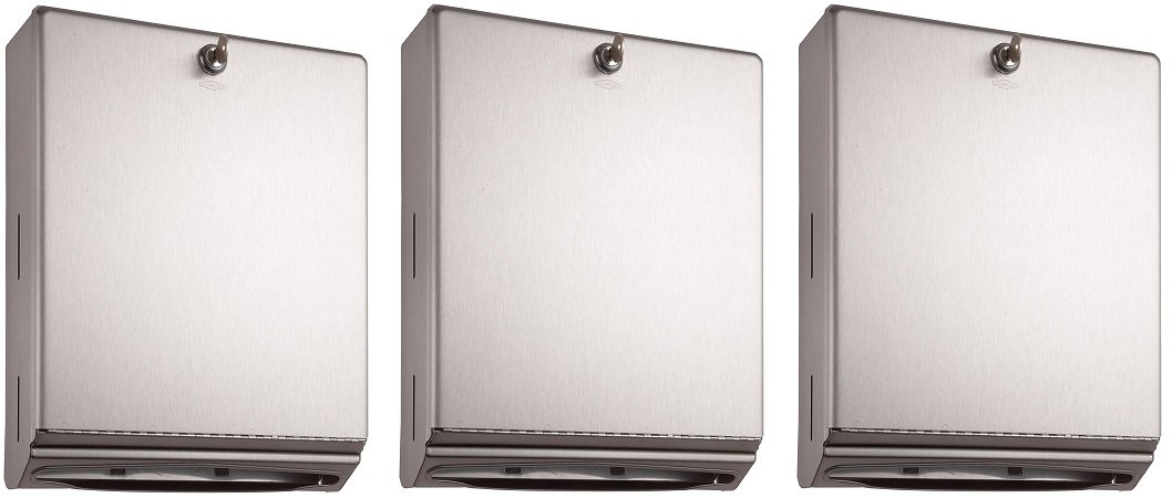 Bobrick 262 Surface-Mounted Paper Towel Dispenser, 10 3/4 x 4 x 14, Satin Stainless Steel (3 PACK)