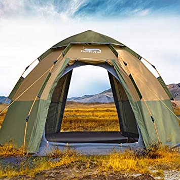 DESERT FOX Pop-up Camping Tent, 3-4 Person Outdoor Automatic Instant Setup 4 Season Waterproof Tent for Hinking, Camping, Traveling