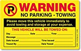 """SmartSign""""Please Move This Vehicle to Avoid Towing"""" Pack of 50 Parking Violation Stickers 