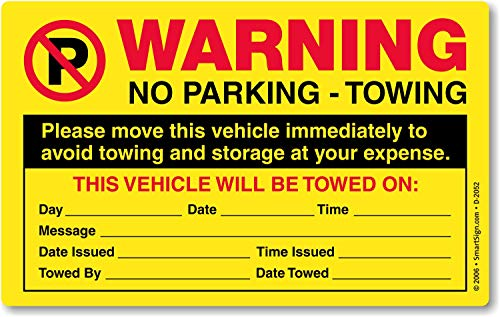 "SmartSign ""Please Move This Vehicle to Avoid Towing"" Pack of 50 Parking Violation Stickers 