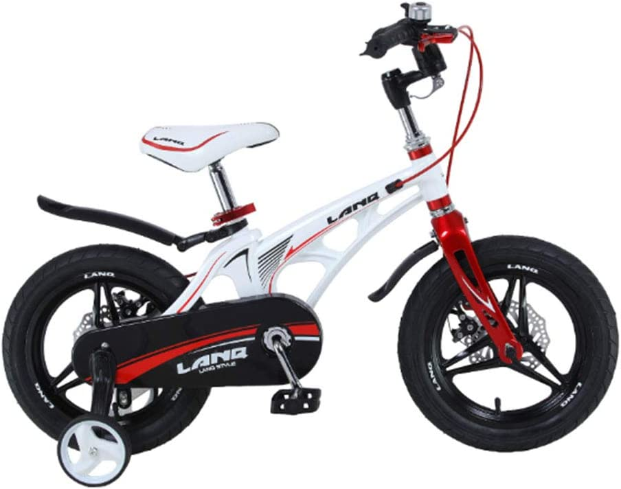 MQYZS Bicicleta Infantil para niños y niñas a Partir de 2-7| Bici 12-14-16-18 Pulgadas con Frenos,Ruedines de Entrenamiento Desmontables,Blanco,18 Inches