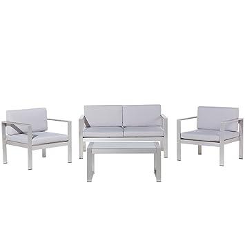 Salon de jardin en aluminium coussin en tissu gris clair table basse ...