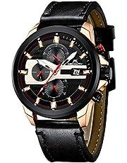 Herren Uhren Männer Wasserdicht Sport Militär Chronograph Lederband Armbanduhr Mode Datum Kalender Analog Quarz Blau Uhr