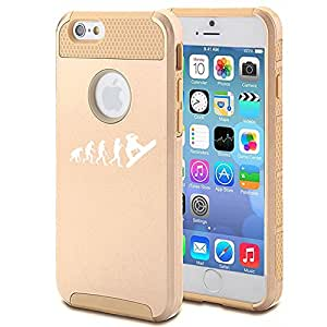 Apple iPhone 6 6s Shockproof Impact Hard Case Cover Evolution Snowboarder (Gold)