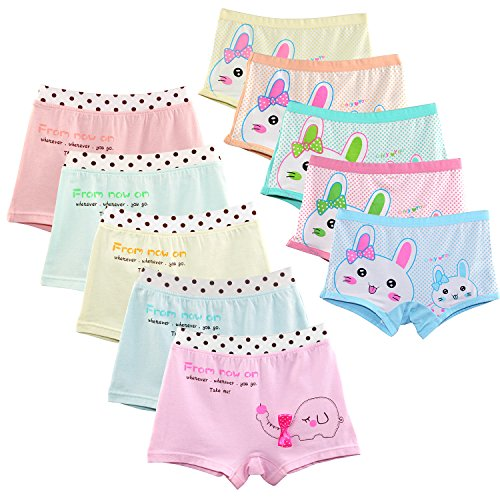 BOOPH Girls Boyshort Hipster Panties Kids Underwear 10 of Pack 3-10t