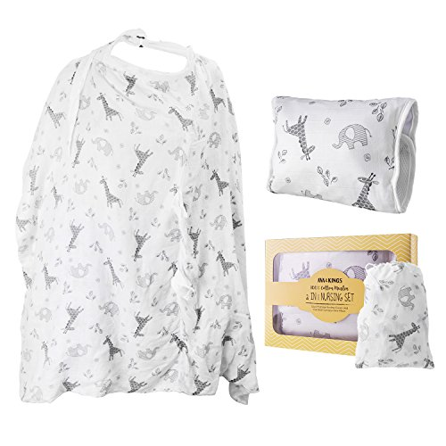 Ava & Kings 2-in-1 Baby Nursing Set - Dual Purpose Nursing Cover/Car Seat Canopy and Arm Pillow - Made w/100% Cotton Muslin | for Infant Girls & Boys, Unisex White Zoo Safari Animals Design