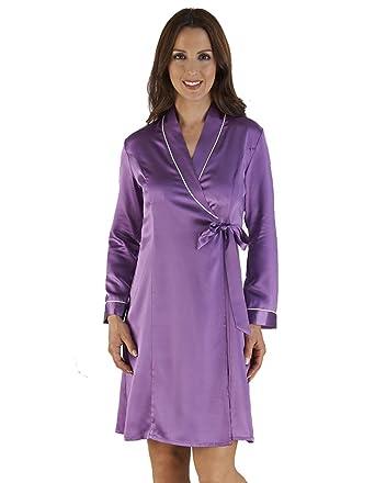 0c62b2e6b325 Slenderella Purple Silk Kimono Robe with Ivory Edging HC04417 LGE at ...