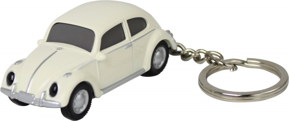 Dreams & Co. Volkswagen VW Classic Beetle Keychain Keylight Flashlight - White, Black, 1 Count (Pack of 1)