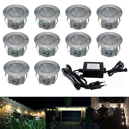 LED Lampen Ø45mm 10er Set Treppen Bodeneinbauleuchten Aussen Warmweiß IP67 Wasserdicht Licht Einbauleuchte Terrasse Küche Garten Led Bodenstrahler