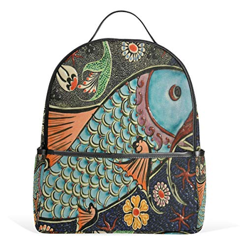 MUOOUM Mosaic Koi Fish Floral Backpack Casual Daypack School College Travel Bag for Teens Boys Girls