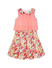 Girls Dress Lace To Chiffon Striped Black White Tied Waist