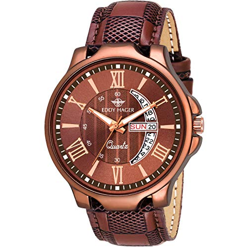 EDDY HAGER Analogue Men's Watch (Brown Dial Brown Colored Strap)