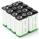 BAKTH 9V Advanced Li-ion Battery 9 Volt 650mAh High Capacity Low Self-Discharge Lithium-ion Rechargeable Batteries (8 Pack)