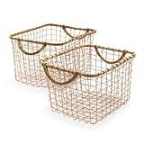 Sur La Table Rose Gold Wire Baskets, Set of 2