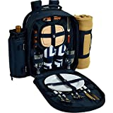 Picnic at Ascot 080X-SCB Deluxe Equipped 2 Person Picnic Backpack with Cooler, Insulated Wine Holder & Blanket, Chevron Blue