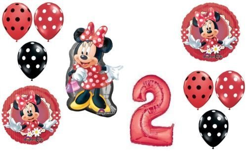 LoonBalloon MINNIE MOUSE Figure Red Bow Polka Dots #2 Birthday PARTY Mylar Latex BALLOON