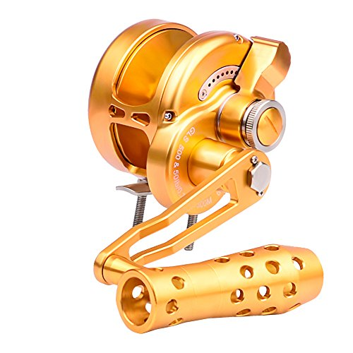Trolling Reel Casting Sea Fish Reels Fishing Wheel Stainless Steel Left Right Hand Saltwater Baitcasting Reels Coil Aluminum Spool (Gold, 500L-Right - Baitcasting Drag Reel Lever