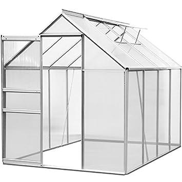 Serre de jardin aluminium polycarbonate abri jardin outils exterieur  plantes plantations 7,6 m³ - 2 lucarnes - M3
