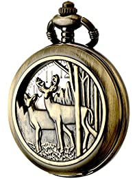 Vintage Quartz Pocket Classic Watch Arabic Numerals Scale Watch with Chain for Xmas Fathers Birthday Anniversary Day Gift (Deer)