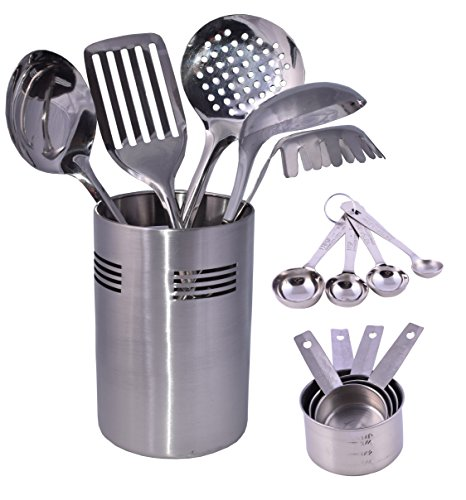 Stainless Steel Kitchen Tool Set with 5 Cooking Utensil Tools 4 Measuring spoons & Cups with Caddy Holder 13' Ladle