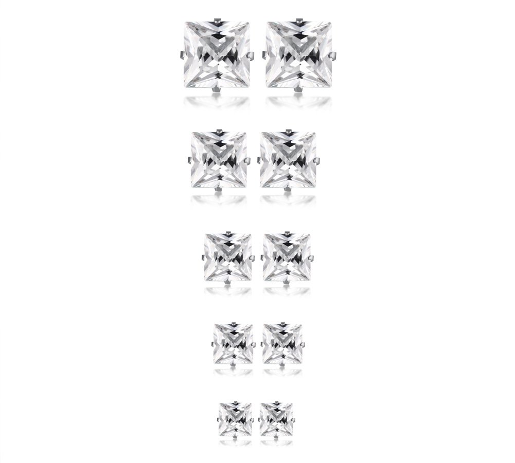 5 Pairs a Pack Square Cubic Zirconia Stainless Steel cz Gem Stud Earrings Set for Women Girl Gold Plated Mealguet MG--ES--224G