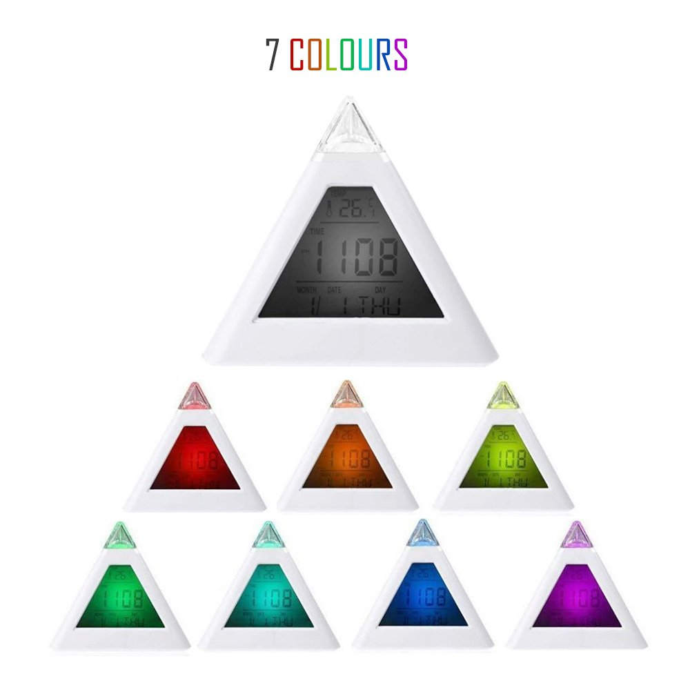 7 LED Color Changing Pyramid Digital Electronic Fashion Alarm Clock Thermometer Calendar Clock New Sky Tech