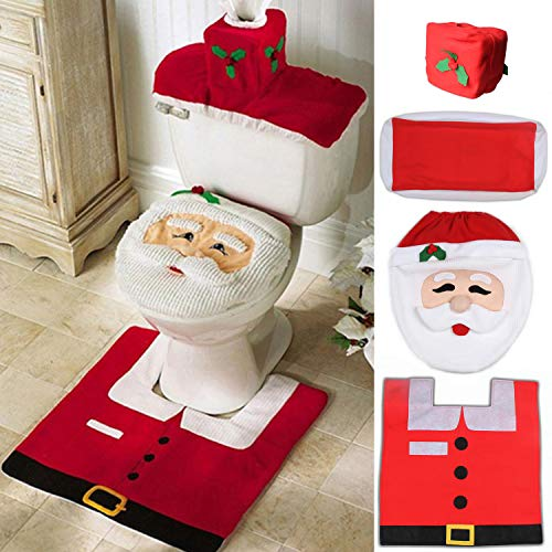 Ohuhu Santa Toilet Seat Cover, 4-Piece Christmas Toilet Seat Cover and Rug Set, Santa on The Toilet Ornament, Santa Claus Toilet Seat, for Happy Christmas Decorations Bathroom Decor Red (Bathroom Set Santa)