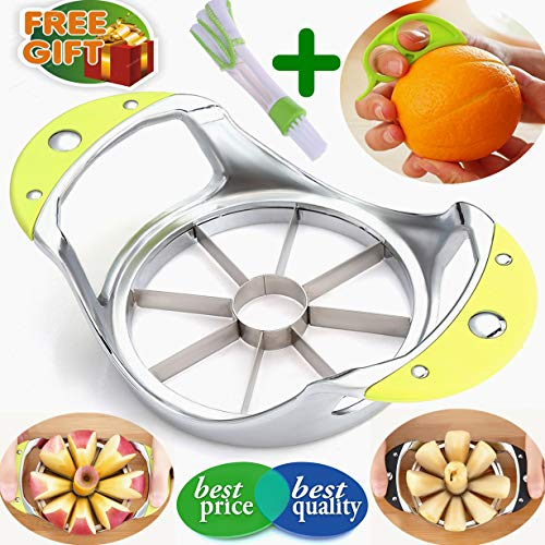 (Apple Corer Slicer+Orange peeler+cleaning brush, Apple Slicer Stainless steel Core remover Blooming Onion Cutter Pear Divider Wedger Metal Decorer Tool Large Kitchen Gadgets (Green 3-in-1 Gift box))