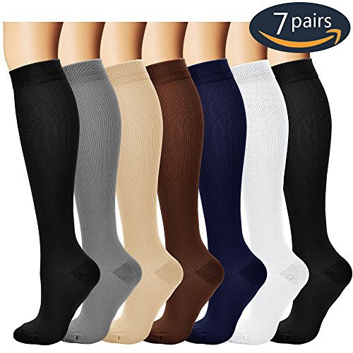 7 Pairs Compression Socks For Women and Men - Best Medical, Nursing, for Running, Athletic, Edema, Diabetic, Varicose Veins, Travel, Pregnancy & Maternity - 15-20mmHg, Small / Medium,  Assorted (20 Mmhg Compression Socks)