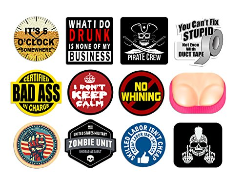 Hard Hat Stickers And Decals | 12 Pack | 100% Vinyl | Funny Hardhat Stickers for Construction, Union, Heavy Equipment Operator, Oil Field, Keep Calm, Pirate Crew, Zombie Outbreak, Bad Ass In Charge