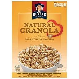 Quaker Oats, Honey & Almonds Natural Granola Cereal, 28 oz (2 Pack)