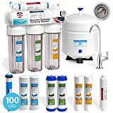 Express Water 5 Stage Under Sink Reverse Osmosis Filtration System 100 GPD RO Membrane Clear Housing Deluxe Faucet Pressure Gauge - Ultra Safe Residential Water Purification - Extra Set of 4 Filters
