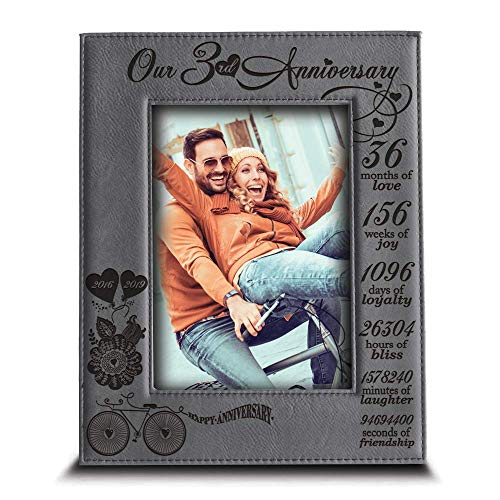 BELLA BUSTA- Our 3 Years Anniversary -2016-2019- Years,Months, Weeks, Days, Hours, Minutes, Seconds- Engraved Leather Picture Frame (4 x 6 Vertical)
