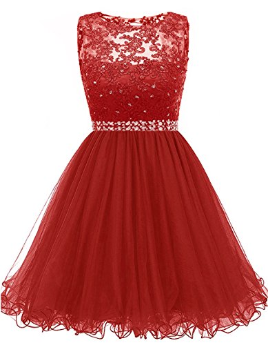 omecoming Dresses Sequined Appliques Cocktail Prom Gowns Short H010 4 Red ()