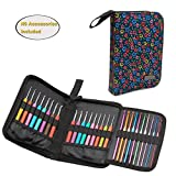 Teamoy Crochet Hook Case, Travel Carry Bag for Ergonomic Crochet Hooks Kits, Aluminum Crochet Hooks, Steel crochet hook and more, Lightweight, Well Made--NO ACCESSORIES INCLUDED, Flowers Blue