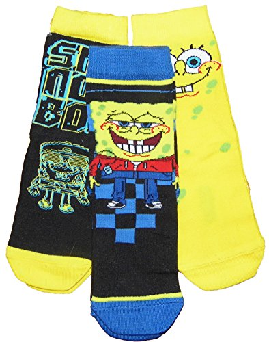 Pack of 3 Quality Sponge-bob Square Pants Boys Socks 13-3.5