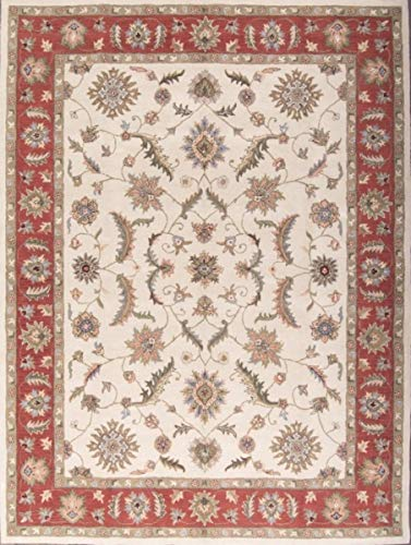 13' Wool - Classic Traditional Floral Hand-Tufted Ivory Oushak Agra Oriental Area Rug 10X13 (10' 0'' X 13' 0'')