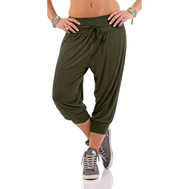 Pervobs Women Solid Threaded Trousers with Drawstring Loose ...