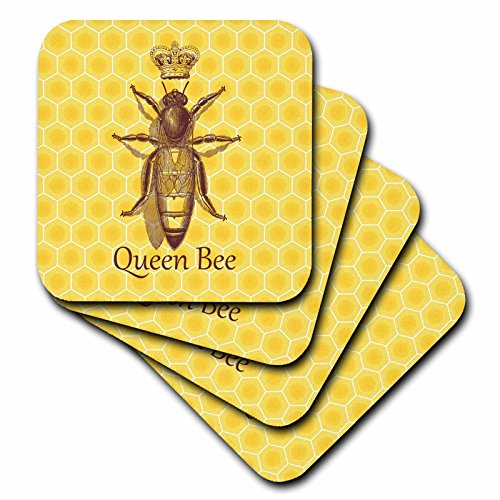 3dRose Stately Queen Bee with Royal Crown Over Yellow Honeycomb - Soft Coasters, Set of 8 (cst_219442_2)